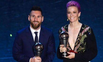 Messi e Rapinoe são os melhores do mundo da Fifa