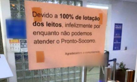 Hospital de Goiânia coloca cartaz na porta para avisar que está lotado